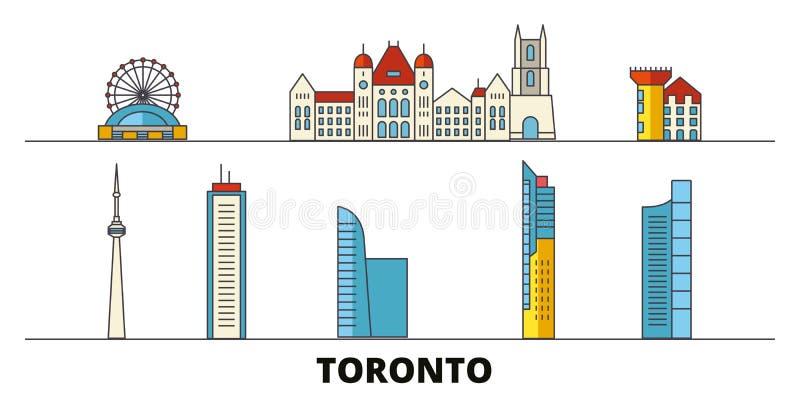 Canada, Toronto flat landmarks vector illustration. Canada, Toronto line city with famous travel sights, skyline, design vector illustration