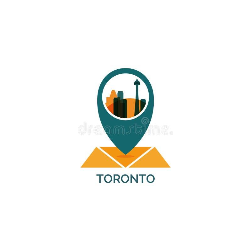 Toronto city skyline silhouette vector logo illustration royalty free illustration