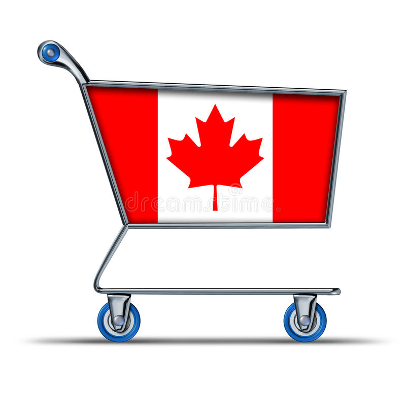Canada trade market surplus deficit shopping cart. Canada trade market represented by a shopping cart isolated on white vector illustration