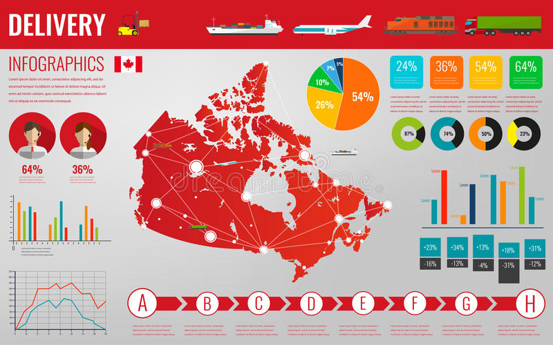 Canada transportation and logistics. Delivery and shipping infographic elements. Vector. Illustration vector illustration