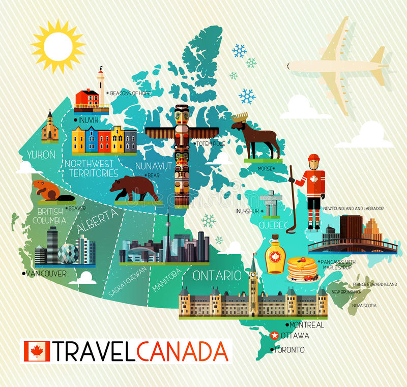 Canada Travel Collection. Map of Canada and Travel Icons. Canada Travel Map. Vector Illustration royalty free illustration