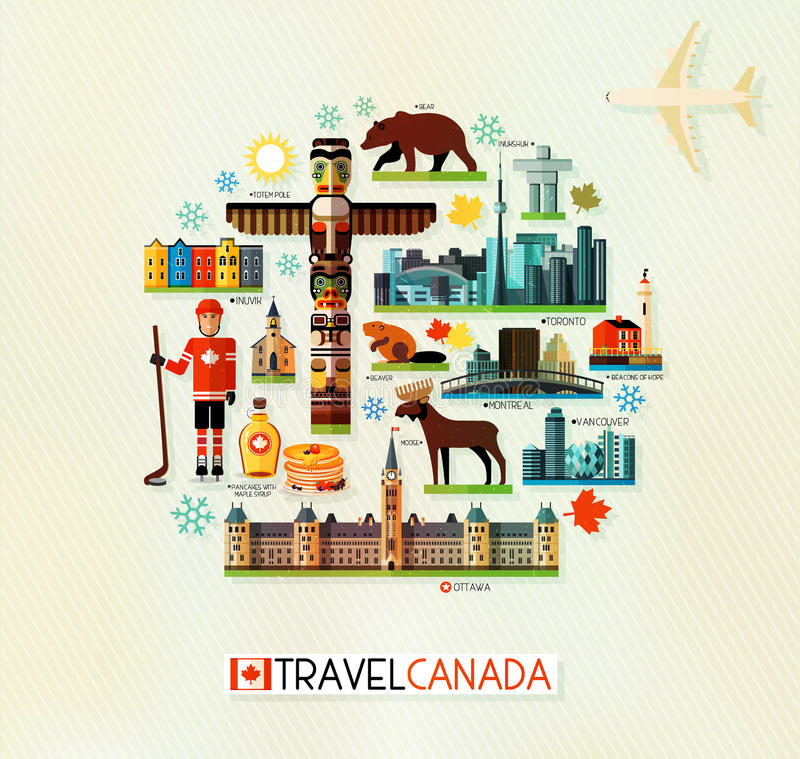 Canada Travel Collection. Vector Set of Various Canada Icons on a Circle Shape stock illustration