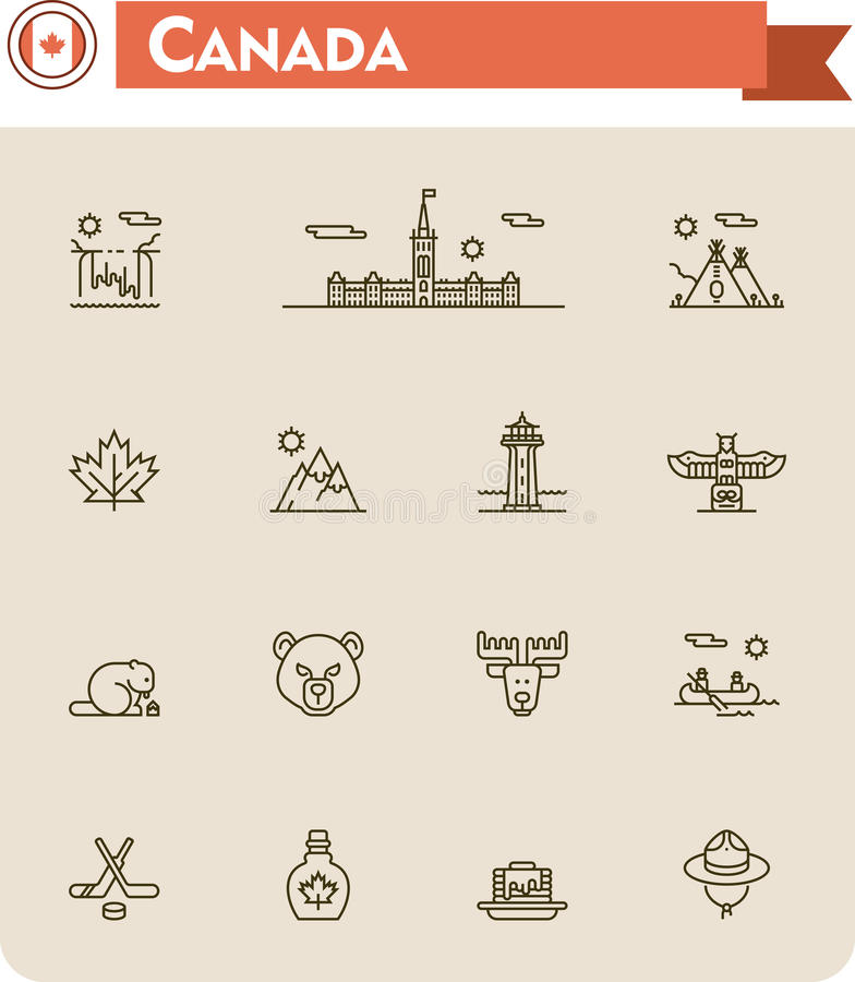 Canada travel icon set. Set of the Canada traveling related icons royalty free illustration