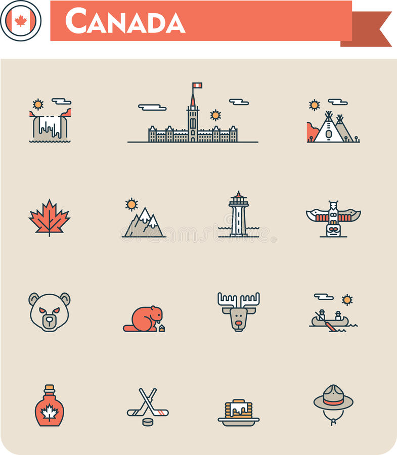 Canada travel icon set. Set of the Canada traveling related icons vector illustration