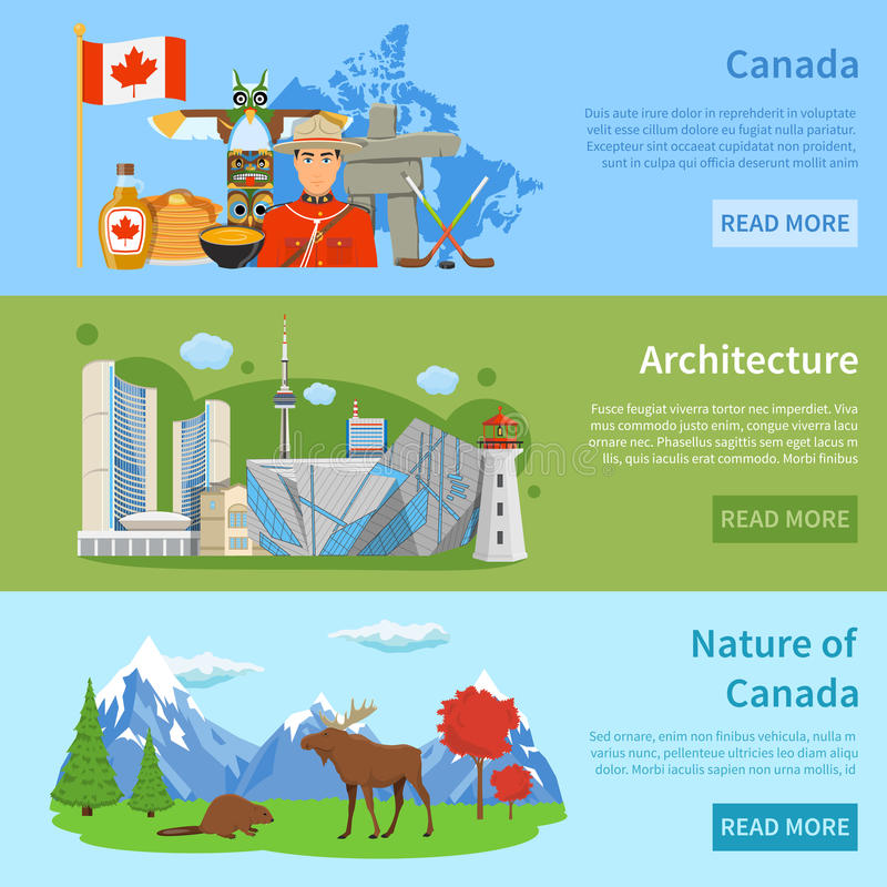 Canada Travel Information 3 Flat Banners. Canadian culture architecture nature and landmarks for travelers 3 flat horizontal banners webpage design isolated vector illustration