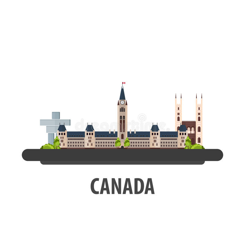 Canada travel location. Vacation or trip and holiday. Canada travel location. Vacation or trip and holiday royalty free illustration
