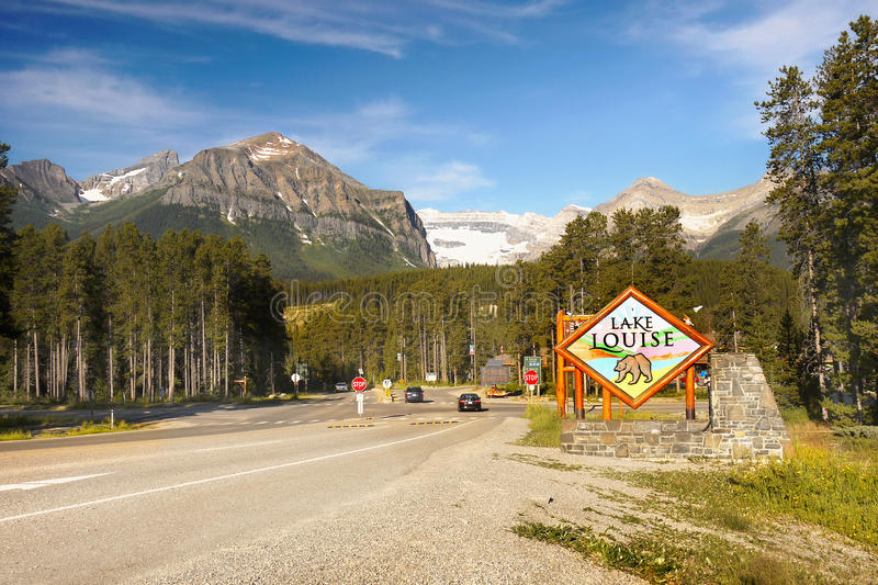 Canada Travel Route, Banff NP, Lake Louise. Canada Travel Route through Lake Louise and Banff National Park, Canadian Rockies. Canada royalty free stock image