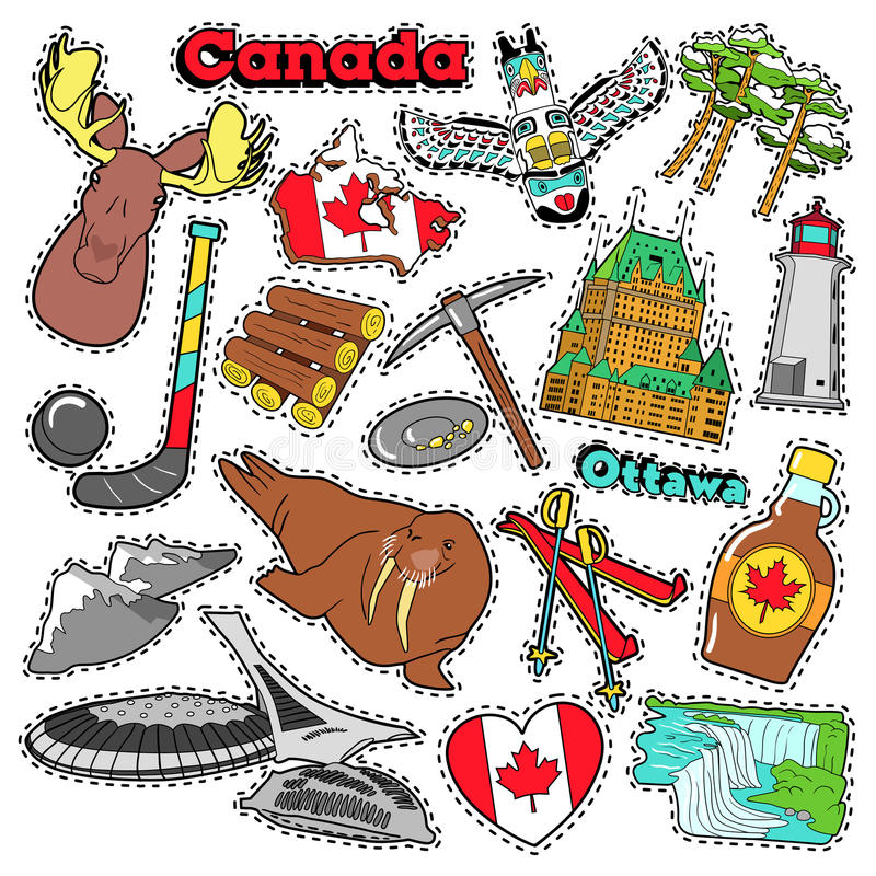 Canada Travel Scrapbook Stickers, Patches, Badges. For Prints with Maple Syrup, Niagara Falls and Canadian Elements. Comic Style Vector Doodle royalty free illustration