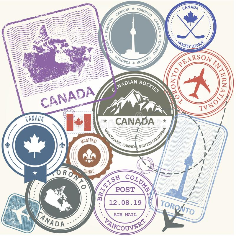Canada travel stamps set - journey symbols of Canada. Canada travel stamps set - journey symbols of Toronto, Canada and Quebec vector illustration