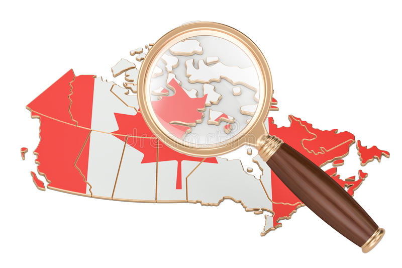 Canada under magnifying glass, analysis concept, 3D rendering vector illustration