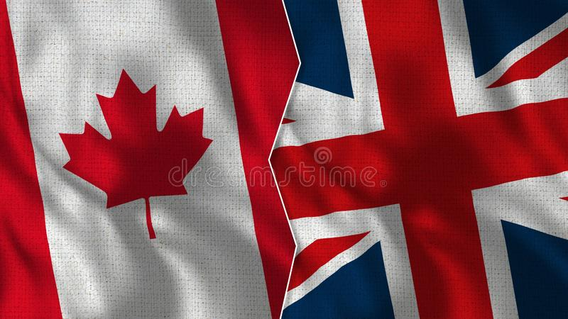Canada and United Kingdom Half Flags Together. Fabric Texture - High Quality royalty free stock photo