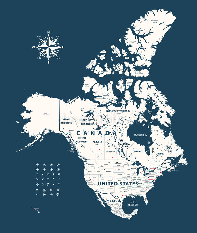 download canada united states and mexico map with states borders on dark blue background stock