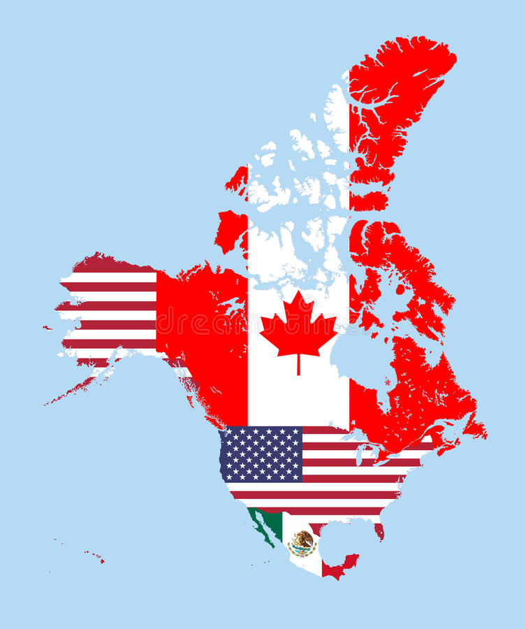canada united states and mexico map combined with flags