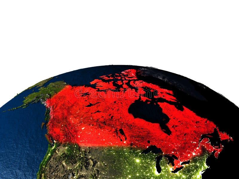Canada van ruimte bij nacht stock illustratie