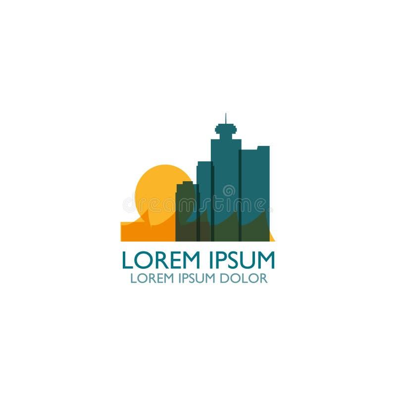 Vancouver city skyline silhouette vector logo illustration stock illustration