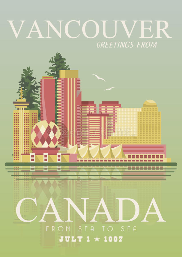 canada Vancouver Illustration canadienne de vecteur Type de cru Carte postale de voyage illustration stock