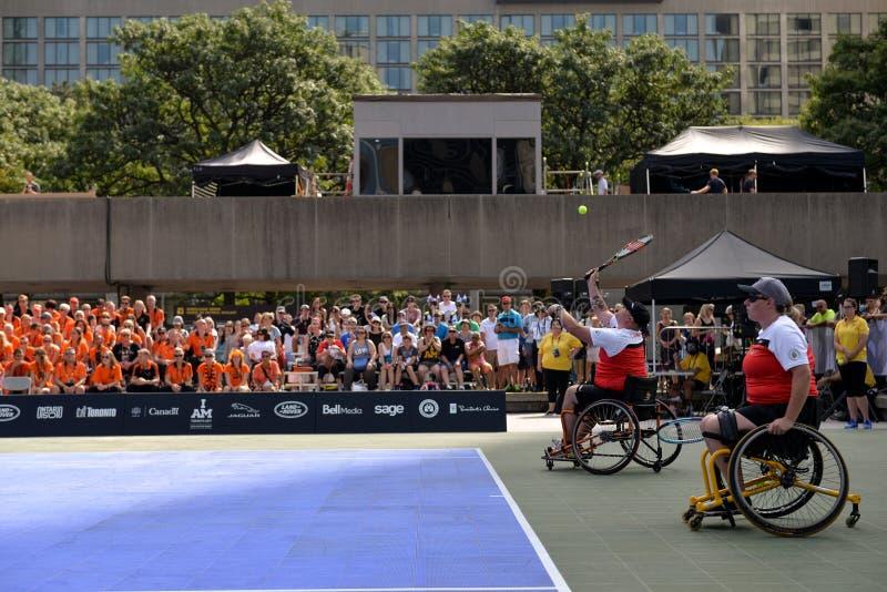 Canada versus de rolstoeltennis van Nederland stock afbeelding