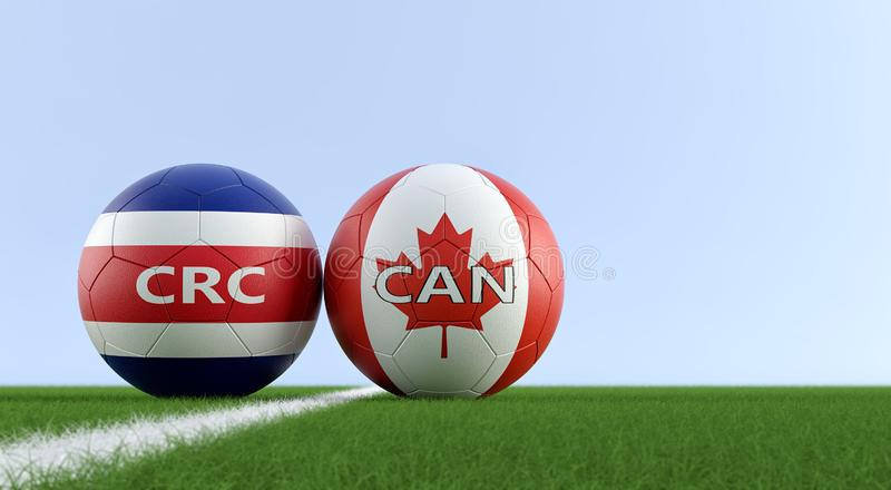 Canada vs. Costa Rica Soccer Match - Soccer balls in Costa Rica and Canada national colors on a soccer field. Copy space on the right side - 3D Rendering vector illustration