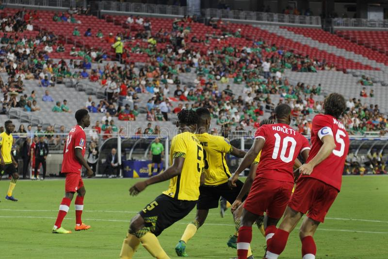 Canada vs Jamaica. Football in the 2017 Gold Cup at University of Phoenix Stadium in Glendale Arizona USA July 20, 2017 stock images