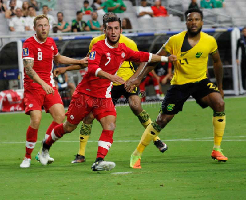 Canada vs Jamaica. In the Gold Cup quarterfinals at University of Phoenix Stadium in Glendale Arizona USA July 20,2017 royalty free stock image