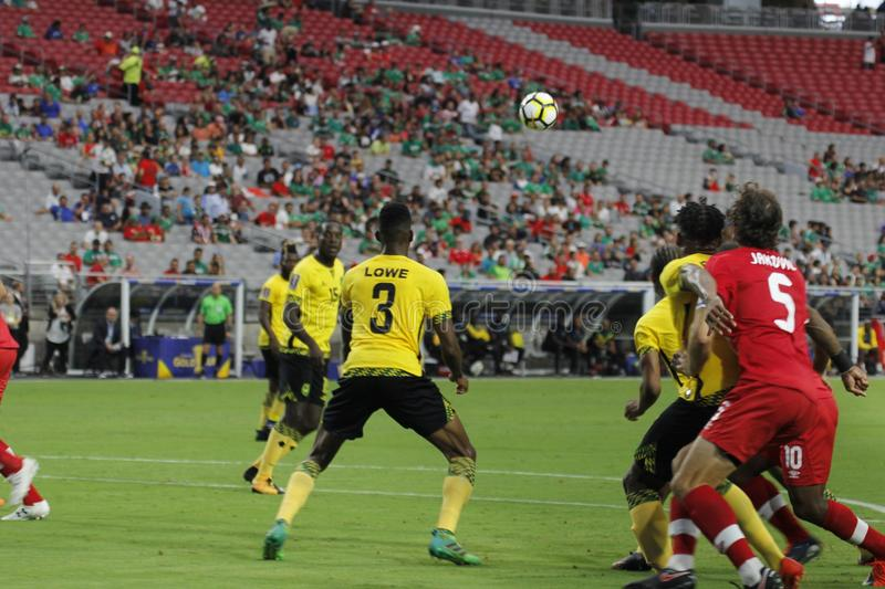 Canada vs Jamaica. In the Gold Cup quarterfinals at University of Phoenix Stadium in Glendale Arizona USA July 20,2017 stock image