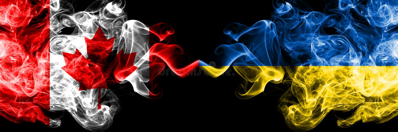 Canada vs Ukraine, Ukrainian smoky mystic flags placed side by side. Thick colored silky smoke flags of Canadian and Ukraine,. Ukrainian royalty free illustration