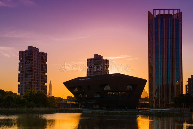 Canada Water , Cityscape London UK. Canada Water is a freshwater lake and wildlife refuge in Rotherhithe in the Docklands in south-east London stock image