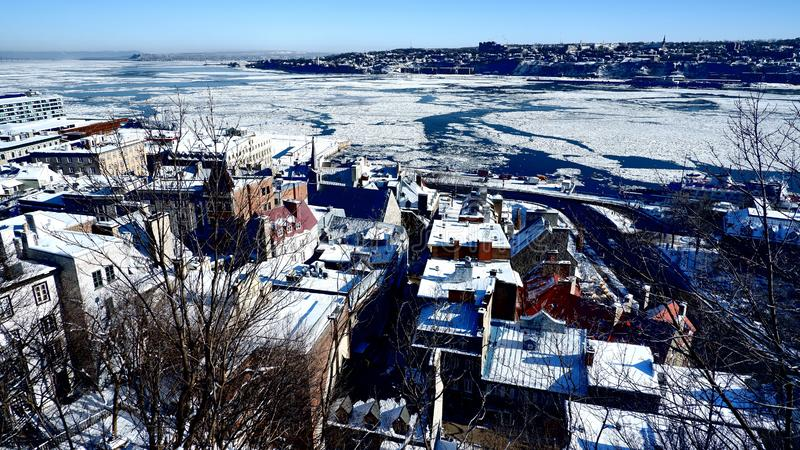 Winter landscape on Quebec City royalty free stock images