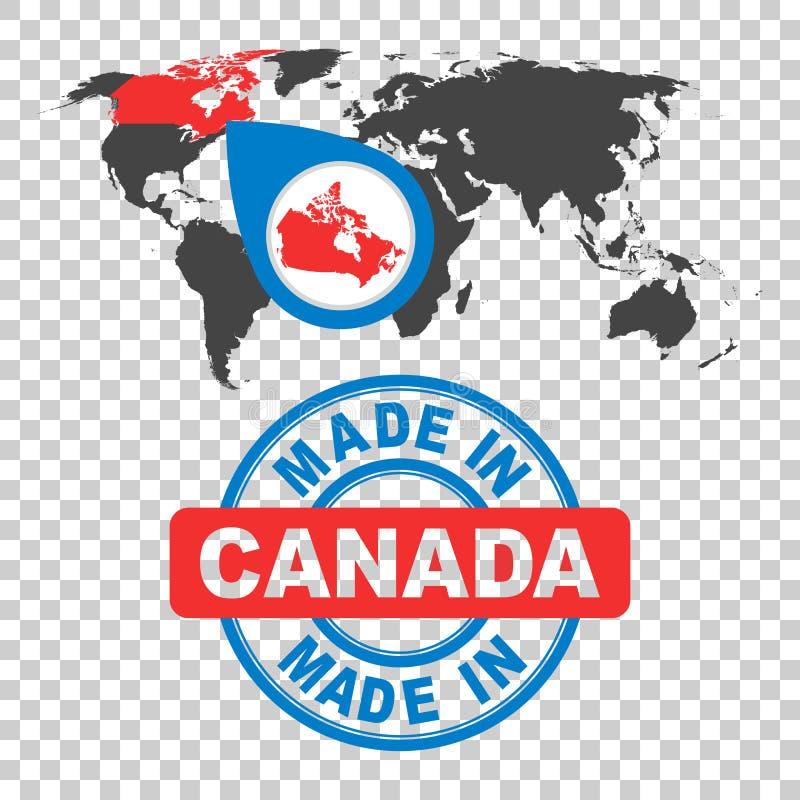canada zrobił znaczkowi Światowa mapa z czerwonym krajem 8 emblemata eps odizolowywający wektorowy biel ilustracji