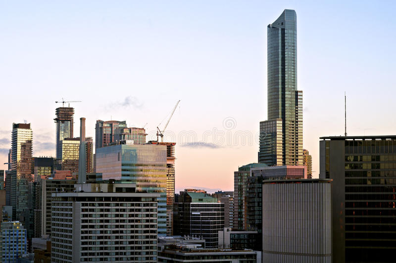 Canadas Tallest Building - The Aura on Yonge Street, Toronto. The Aura clearly stands head and shoulders above the rest of Torontos skyscrapers and is currently stock photography