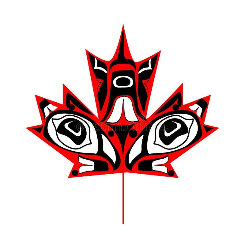 Canadees inheems esdoornblad stock illustratie