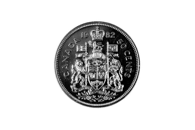 Canadense idoso fim da parte de cinqüênta centavos acima imagens de stock royalty free