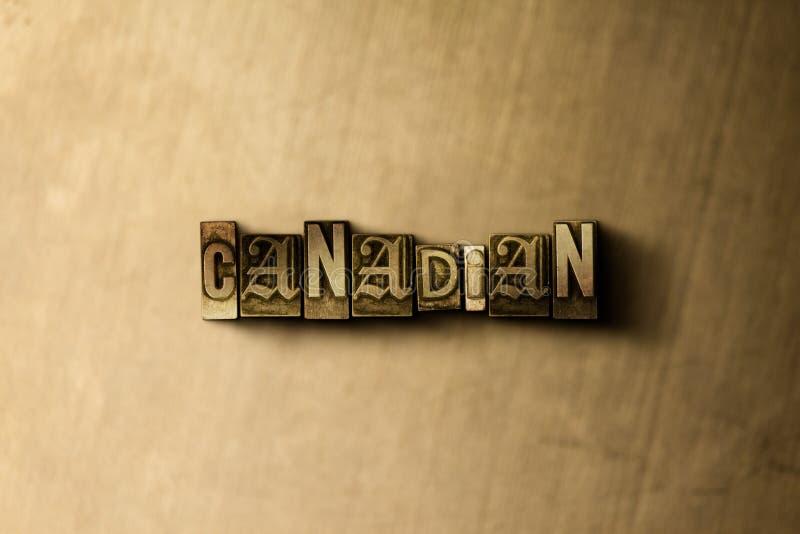 CANADENSE - o close-up do vintage sujo typeset a palavra no contexto do metal ilustração stock
