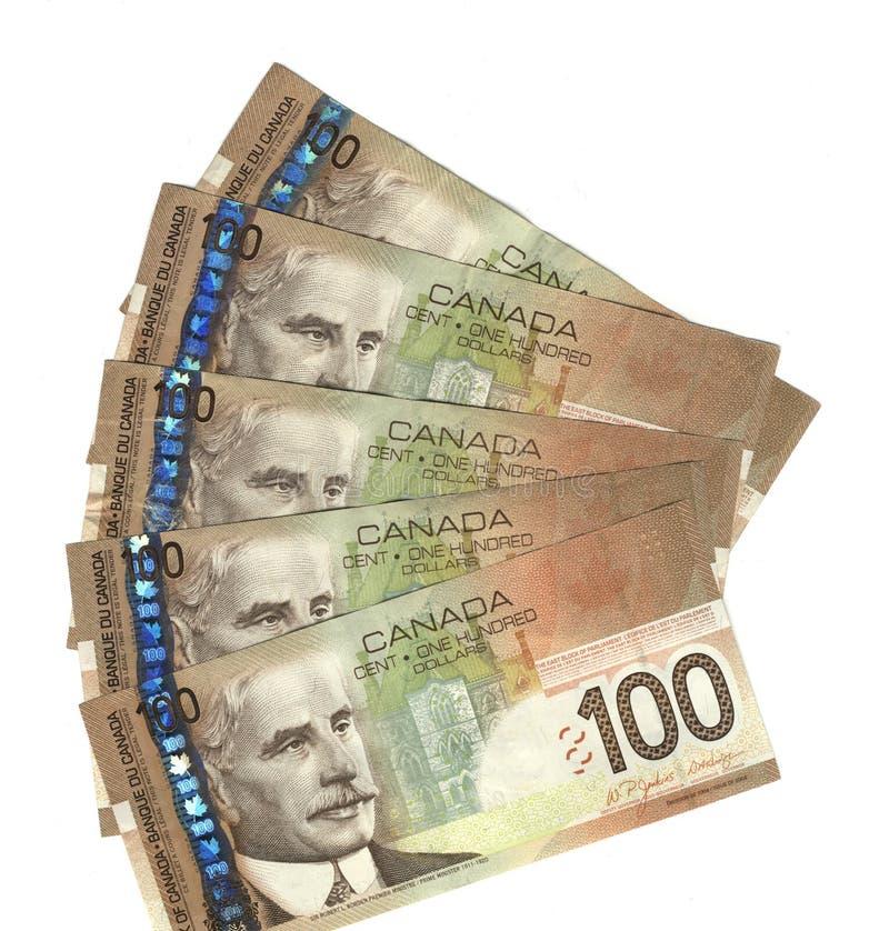 Canadense para fora ventilado cem contas de dólar imagens de stock royalty free