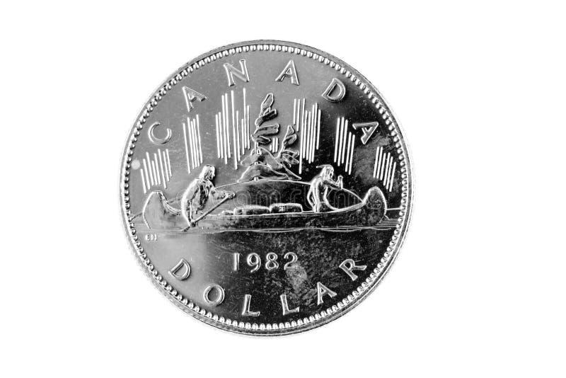 Canadese anziano una fine della moneta del dollaro su fotografia stock libera da diritti