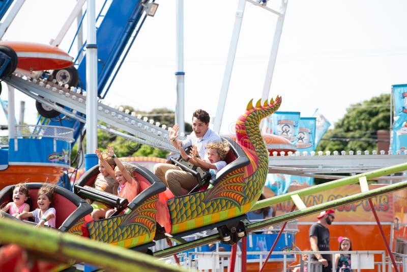 Canadese Eerste minister Justin Trudeau en Hadrien At Carnival royalty-vrije stock fotografie