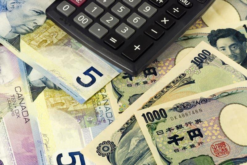 Canadese en Japanse munt royalty-vrije stock foto's