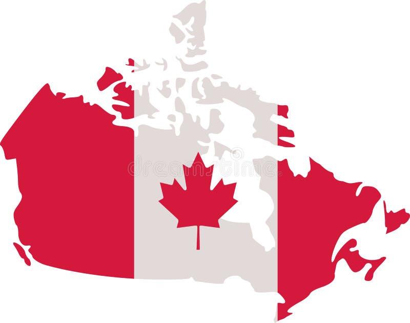 Canadese kaart met de vlag van Canada royalty-vrije illustratie