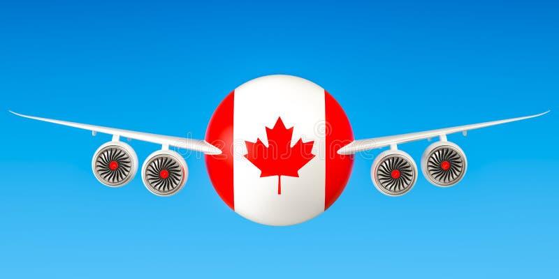 Canadese luchtvaartlijnen en het vliegen ` s, vluchten aan het concept van Canada 3d aangaande stock illustratie