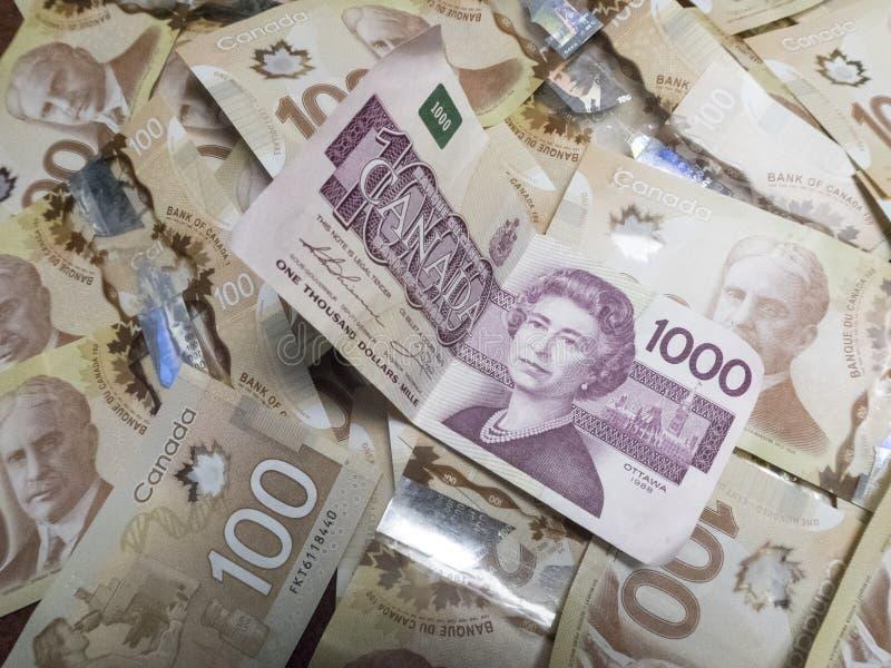 Canadese Munt $1000 rekeningen stock fotografie