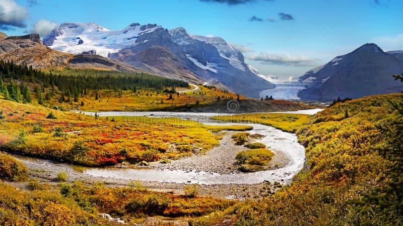 Canadese Rotsachtige Bergen, Banff-Jaspis, Icefields-Brede rijweg met mooi aangelegd landschap, Athabasca-Gletsjer stock fotografie