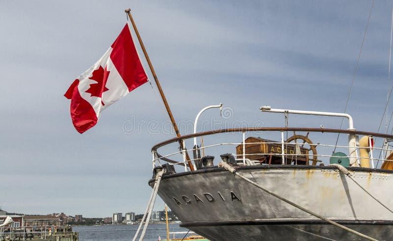 Canadese Vlag op Acadia stock foto's