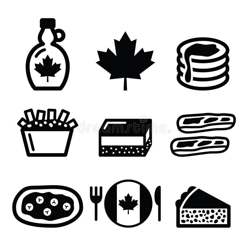 Canadese voedselpictogrammen - ahornstroop, poutine, nanaimobar, beververhaal, tourtière royalty-vrije illustratie