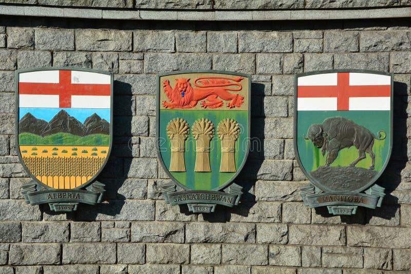 Canadese wapenschilden voor Saskatchewan, Manitoba, en Alberta stock foto