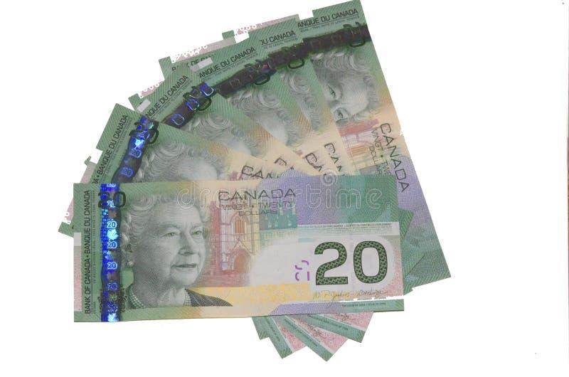 Canadian $20 bills. Canadian 20 dollar bills fanned