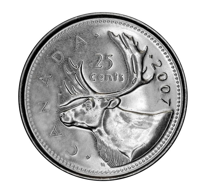 Free Canadian 25 Cent Coin Royalty Free Stock Photos - 140328978