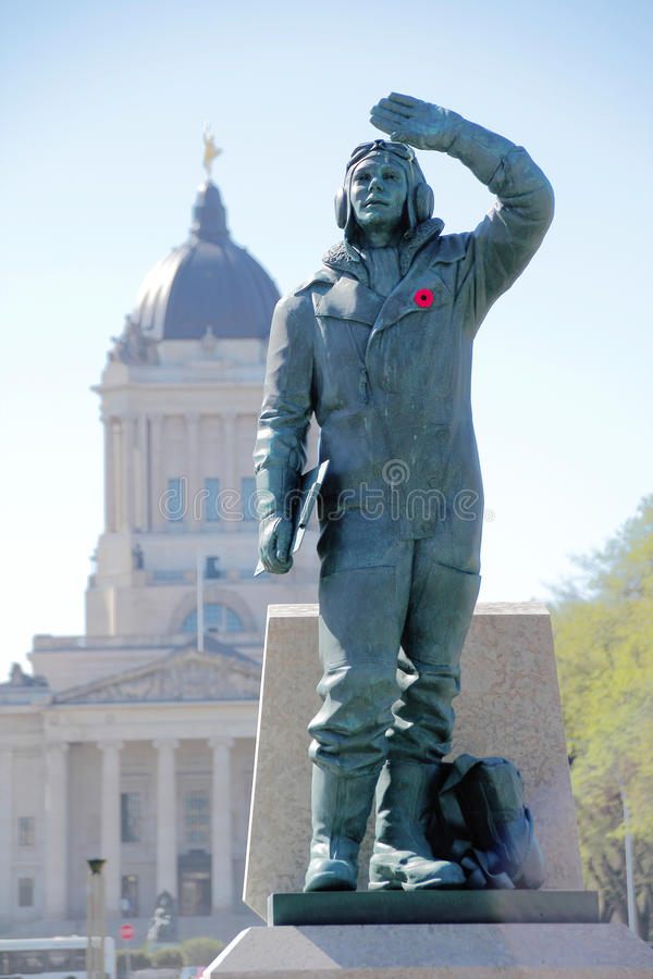 Canadian Airmen Statue. A statue outside the Manitoba Legislative Building commemorates airmen and their service to Canada royalty free stock images