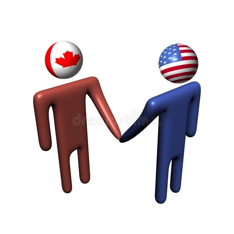 Canadian American meeting vector illustration