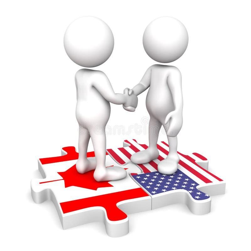 Canadian American partnership royalty free illustration