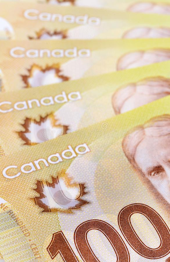 Canadian banknotes Background. Background shot of Canadian banknotes, Canadian banknotes are the banknotes or bills of Canada royalty free stock photo